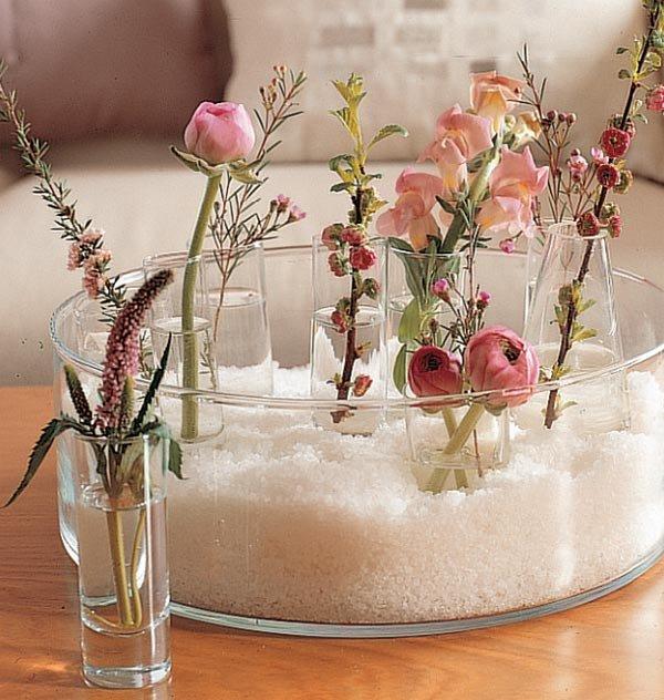 arreglo de flores con cristal