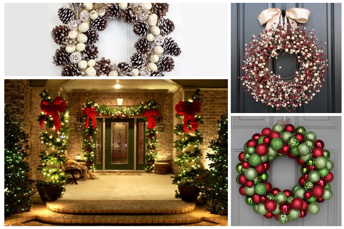 16 ideas de decoraciones navide as para puertas for Arreglos navidenos para puertas 2016