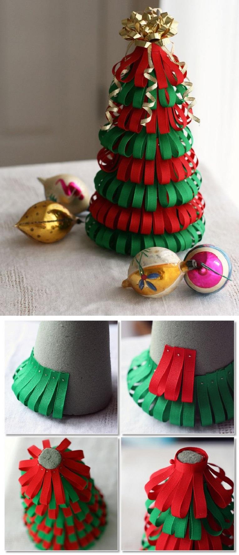 Manualidades navideñas para niños arbolito con cintas