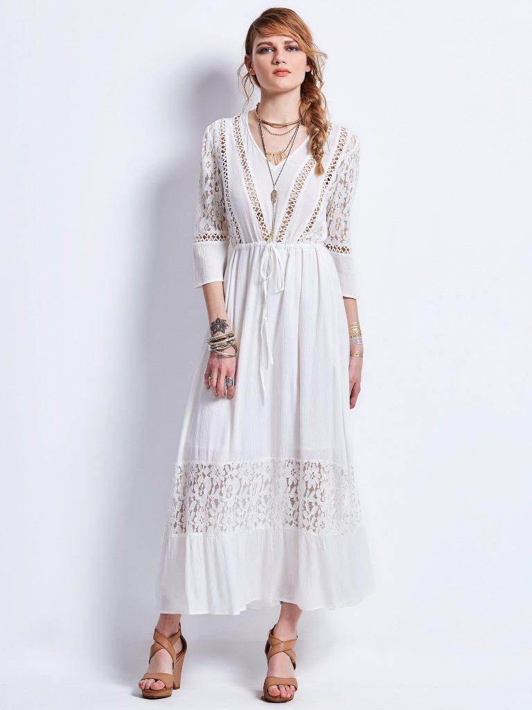 vestidos de encaje blanco boho largo