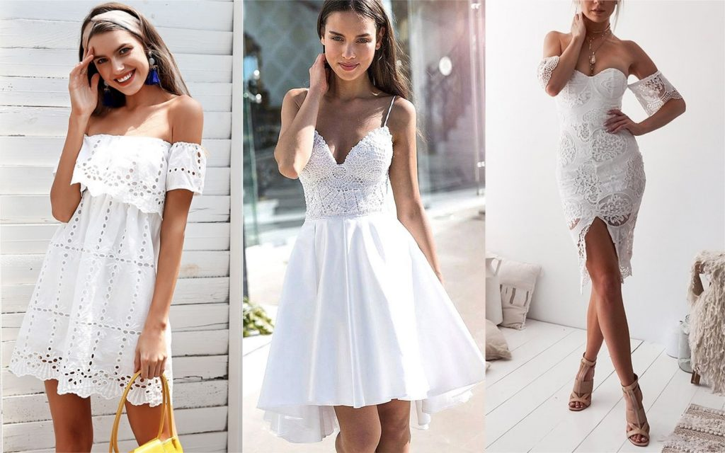 vestidos de encaje blanco off shoulders