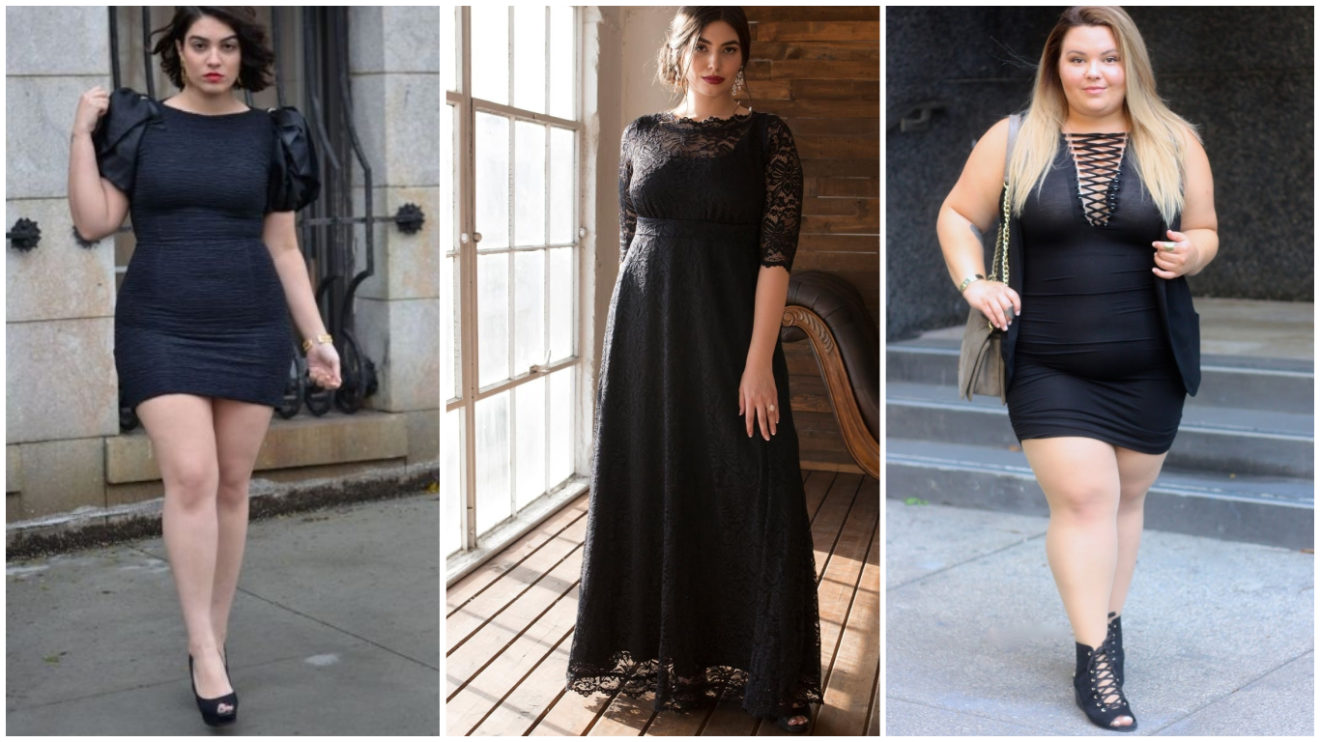 650b36eee Vestidos negros para gorditas (largos y cortos) ¡Estilos y ...