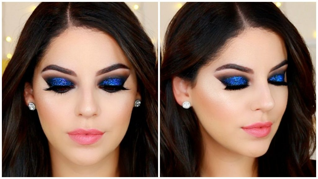 Maquillaje con sombras azules